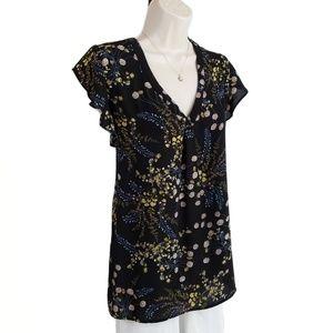 Philosophy top flutter sleeve floral black XL
